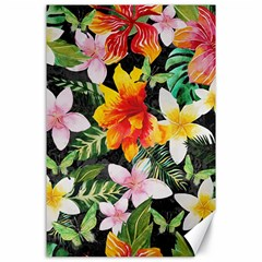 Tropical Flowers Butterflies 1 Canvas 24  X 36