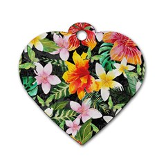 Tropical Flowers Butterflies 1 Dog Tag Heart (two Sides) by EDDArt