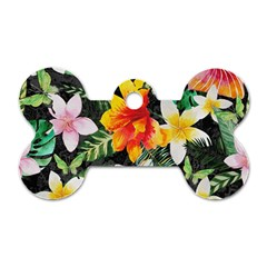 Tropical Flowers Butterflies 1 Dog Tag Bone (two Sides) by EDDArt