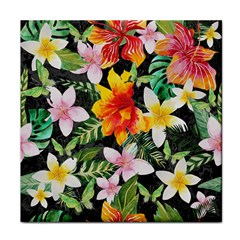 Tropical Flowers Butterflies 1 Face Towel by EDDArt
