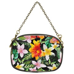 Tropical Flowers Butterflies 1 Chain Purses (one Side)  by EDDArt