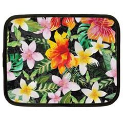 Tropical Flowers Butterflies 1 Netbook Case (xxl)