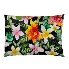 Tropical Flowers Butterflies 1 Pillow Case (two Sides) by EDDArt