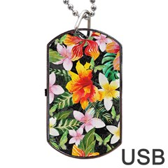 Tropical Flowers Butterflies 1 Dog Tag Usb Flash (one Side) by EDDArt