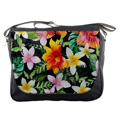 Tropical Flowers Butterflies 1 Messenger Bags by EDDArt