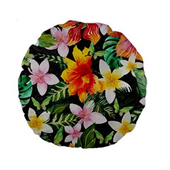 Tropical Flowers Butterflies 1 Standard 15  Premium Round Cushions by EDDArt