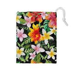 Tropical Flowers Butterflies 1 Drawstring Pouches (large)  by EDDArt
