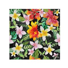 Tropical Flowers Butterflies 1 Small Satin Scarf (square) by EDDArt