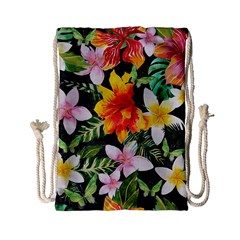 Tropical Flowers Butterflies 1 Drawstring Bag (small) by EDDArt