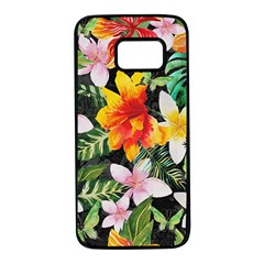 Tropical Flowers Butterflies 1 Samsung Galaxy S7 Black Seamless Case by EDDArt