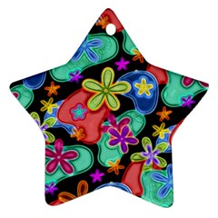 Colorful Retro Flowers Fractalius Pattern 1 Ornament (star) by EDDArt