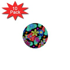 Colorful Retro Flowers Fractalius Pattern 1 1  Mini Buttons (10 Pack)  by EDDArt