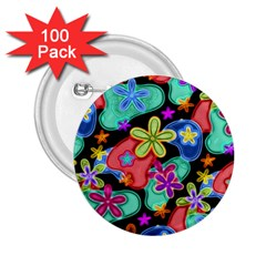 Colorful Retro Flowers Fractalius Pattern 1 2 25  Buttons (100 Pack)