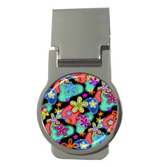Colorful Retro Flowers Fractalius Pattern 1 Money Clips (round)