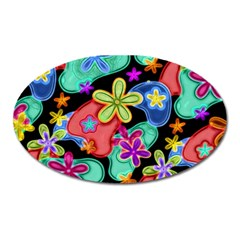 Colorful Retro Flowers Fractalius Pattern 1 Oval Magnet