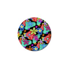 Colorful Retro Flowers Fractalius Pattern 1 Golf Ball Marker (4 Pack) by EDDArt