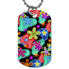 Colorful Retro Flowers Fractalius Pattern 1 Dog Tag (two Sides) by EDDArt