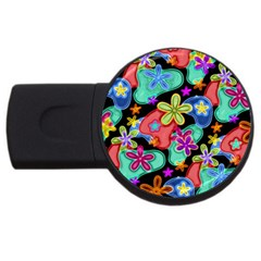 Colorful Retro Flowers Fractalius Pattern 1 Usb Flash Drive Round (2 Gb) by EDDArt