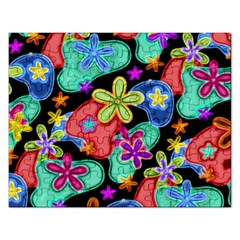 Colorful Retro Flowers Fractalius Pattern 1 Rectangular Jigsaw Puzzl by EDDArt