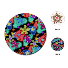 Colorful Retro Flowers Fractalius Pattern 1 Playing Cards (round)