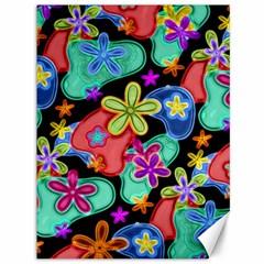 Colorful Retro Flowers Fractalius Pattern 1 Canvas 36  X 48   by EDDArt