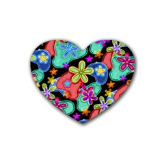 Colorful Retro Flowers Fractalius Pattern 1 Rubber Coaster (heart)