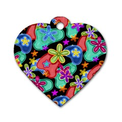 Colorful Retro Flowers Fractalius Pattern 1 Dog Tag Heart (two Sides) by EDDArt