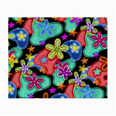 Colorful Retro Flowers Fractalius Pattern 1 Small Glasses Cloth (2 Side) by EDDArt