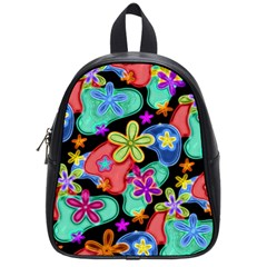 Colorful Retro Flowers Fractalius Pattern 1 School Bag (small)