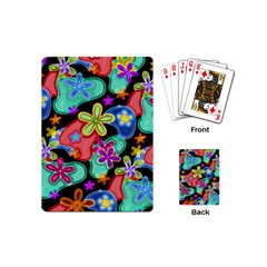Colorful Retro Flowers Fractalius Pattern 1 Playing Cards (mini)  by EDDArt