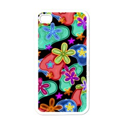 Colorful Retro Flowers Fractalius Pattern 1 Apple Iphone 4 Case (white)