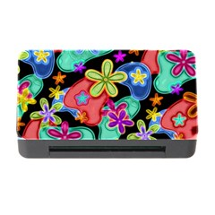 Colorful Retro Flowers Fractalius Pattern 1 Memory Card Reader With Cf by EDDArt