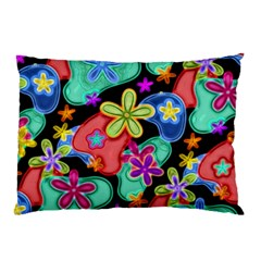 Colorful Retro Flowers Fractalius Pattern 1 Pillow Case (two Sides) by EDDArt