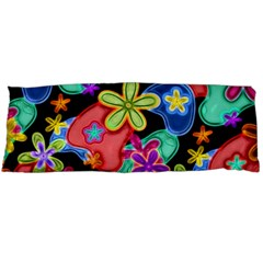 Colorful Retro Flowers Fractalius Pattern 1 Body Pillow Case Dakimakura (two Sides) by EDDArt