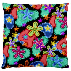 Colorful Retro Flowers Fractalius Pattern 1 Large Cushion Case (one Side) by EDDArt