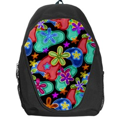 Colorful Retro Flowers Fractalius Pattern 1 Backpack Bag by EDDArt
