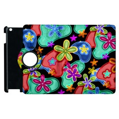 Colorful Retro Flowers Fractalius Pattern 1 Apple Ipad 3/4 Flip 360 Case by EDDArt