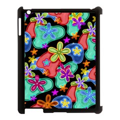 Colorful Retro Flowers Fractalius Pattern 1 Apple Ipad 3/4 Case (black) by EDDArt