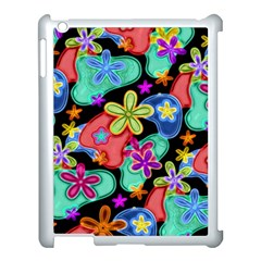 Colorful Retro Flowers Fractalius Pattern 1 Apple Ipad 3/4 Case (white) by EDDArt