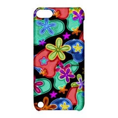 Colorful Retro Flowers Fractalius Pattern 1 Apple Ipod Touch 5 Hardshell Case With Stand by EDDArt