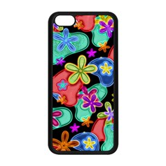 Colorful Retro Flowers Fractalius Pattern 1 Apple Iphone 5c Seamless Case (black) by EDDArt