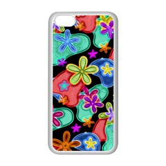 Colorful Retro Flowers Fractalius Pattern 1 Apple Iphone 5c Seamless Case (white) by EDDArt