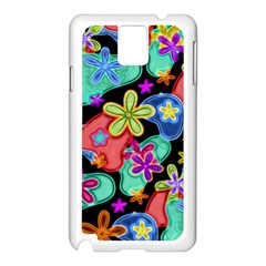 Colorful Retro Flowers Fractalius Pattern 1 Samsung Galaxy Note 3 N9005 Case (white) by EDDArt