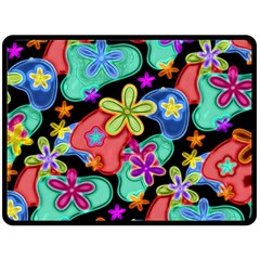 Colorful Retro Flowers Fractalius Pattern 1 Double Sided Fleece Blanket (large)  by EDDArt