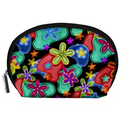 Colorful Retro Flowers Fractalius Pattern 1 Accessory Pouches (large)  by EDDArt