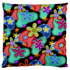 Colorful Retro Flowers Fractalius Pattern 1 Standard Flano Cushion Case (two Sides) by EDDArt