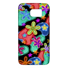 Colorful Retro Flowers Fractalius Pattern 1 Samsung Galaxy S6 Hardshell Case  by EDDArt
