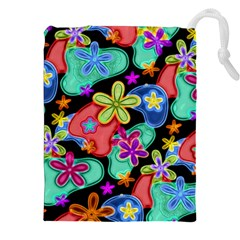 Colorful Retro Flowers Fractalius Pattern 1 Drawstring Pouches (xxl) by EDDArt