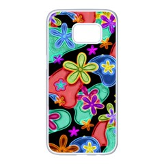 Colorful Retro Flowers Fractalius Pattern 1 Samsung Galaxy S7 Edge White Seamless Case by EDDArt