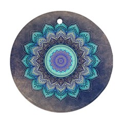Folk Art Lotus Mandala Blue Turquoise Ornament (round) by EDDArt